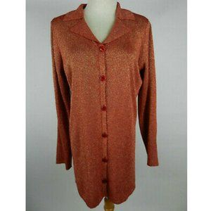 Susan Graver Style M Knit Top Red Gold Shimmery